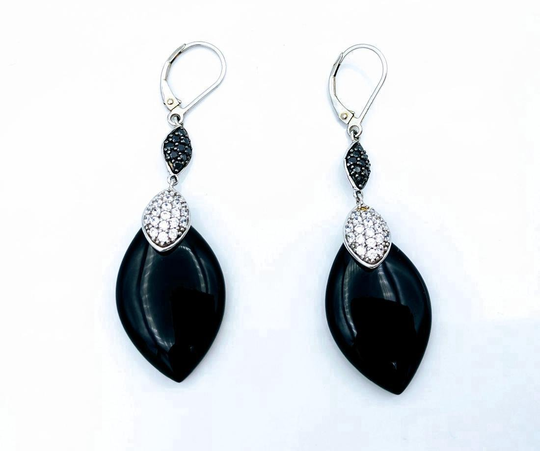 Sterling Silver Black Onyx Cubic Zirconia Drop Earrings