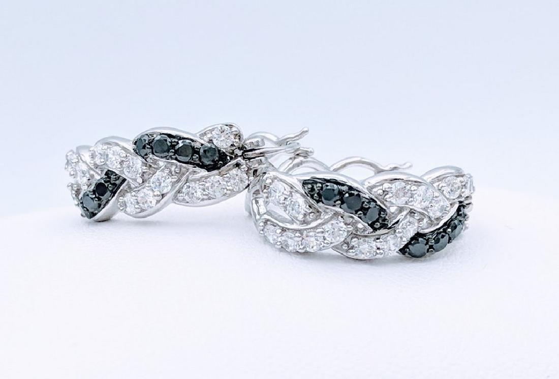 Sterling Silver Black Onyx White CZ Braided Earrings