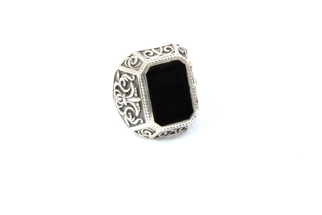 Italian Nassau Collection Silver Ring with black Enamel