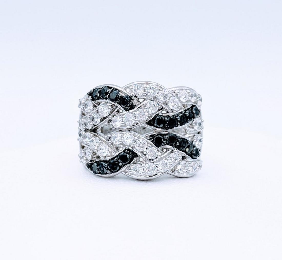 Sterling Silver Black Onyx White CZ Braided Ring