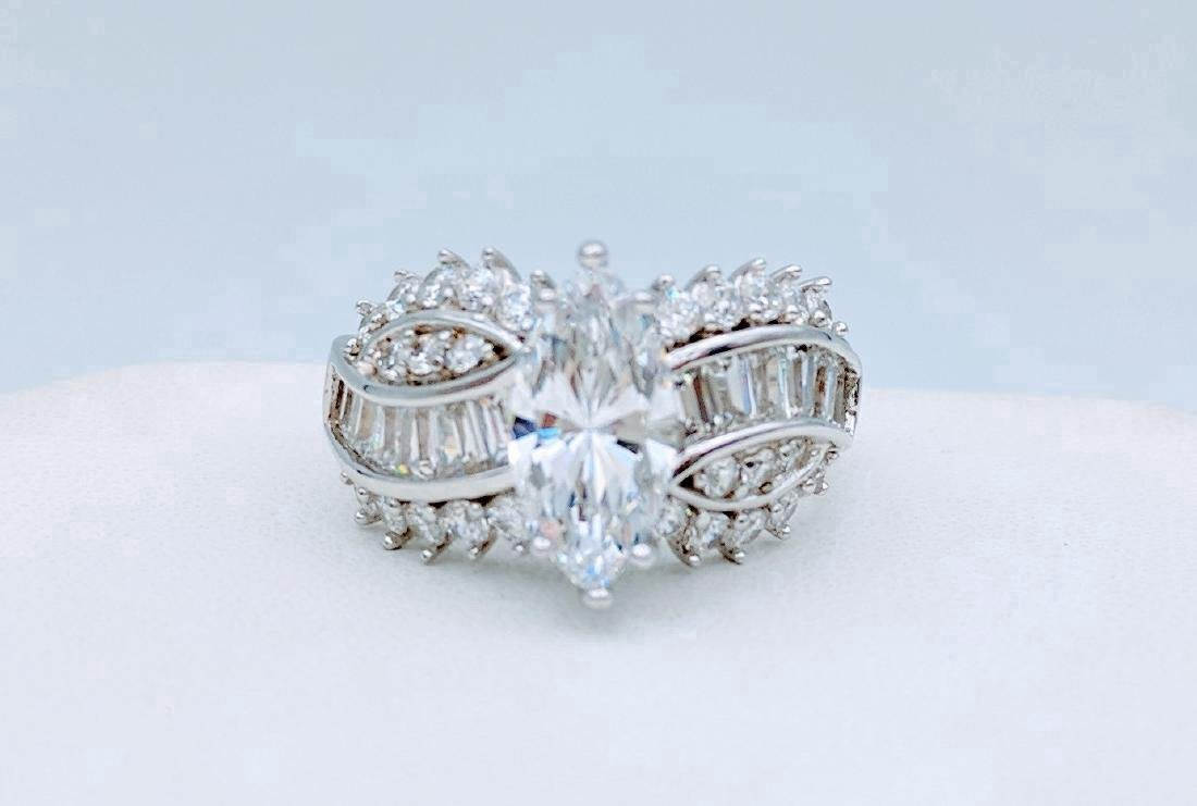 Sterling Silver Cubic Zirconia Ring, 3.45ctw