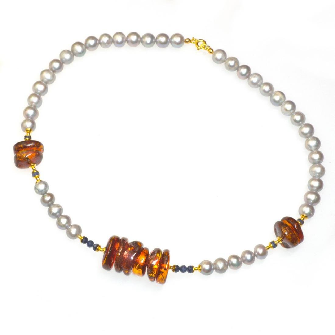 Royal Silver Pearl Baltic Amber Necklace with Sapphires