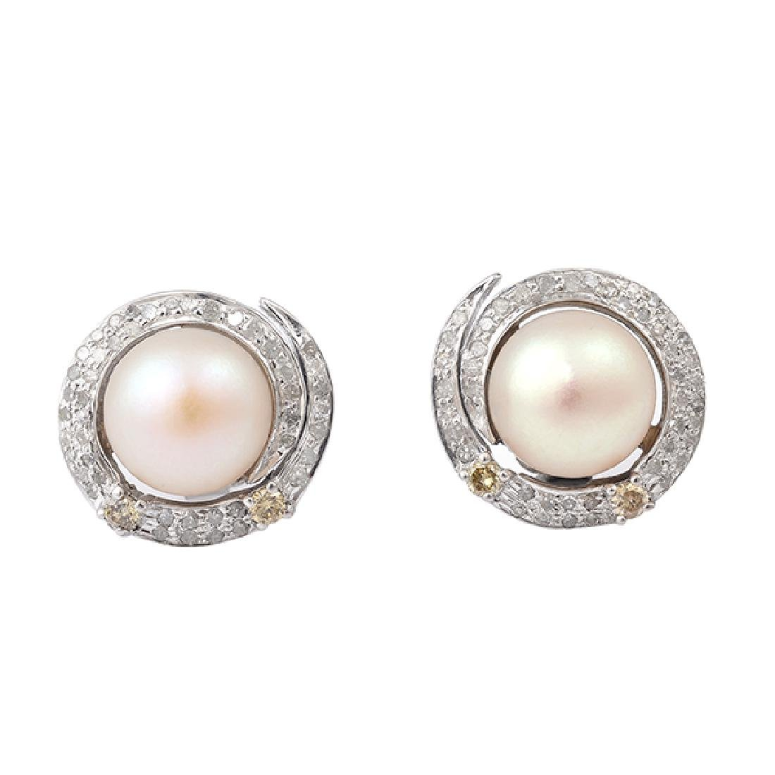 0.63ct Pave Diamond Pearl Round Shape Stud Earrings
