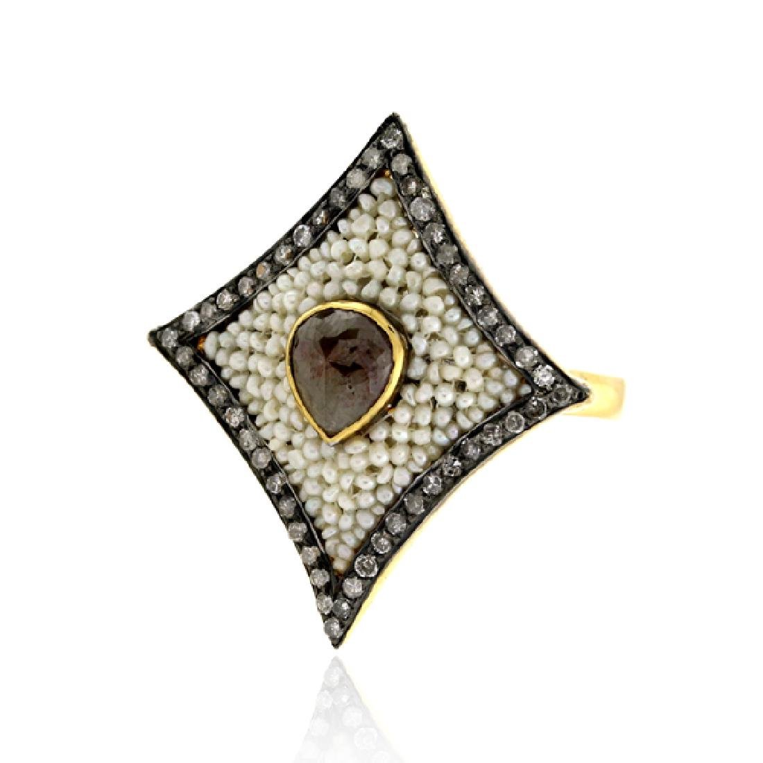 Pave Diamond Natural Pearl Ethnic Ring 18k Gold