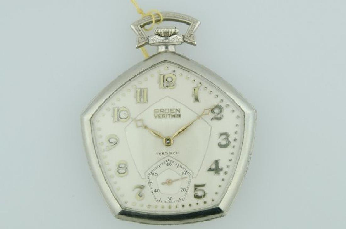 Gruen 14K White Gold Enamel Pocketwatch