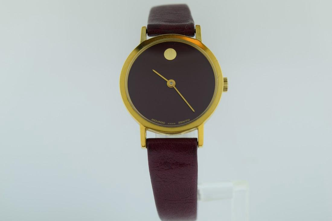 Movado Unusual Ladies Burgundy Zenith Watch, 1970s