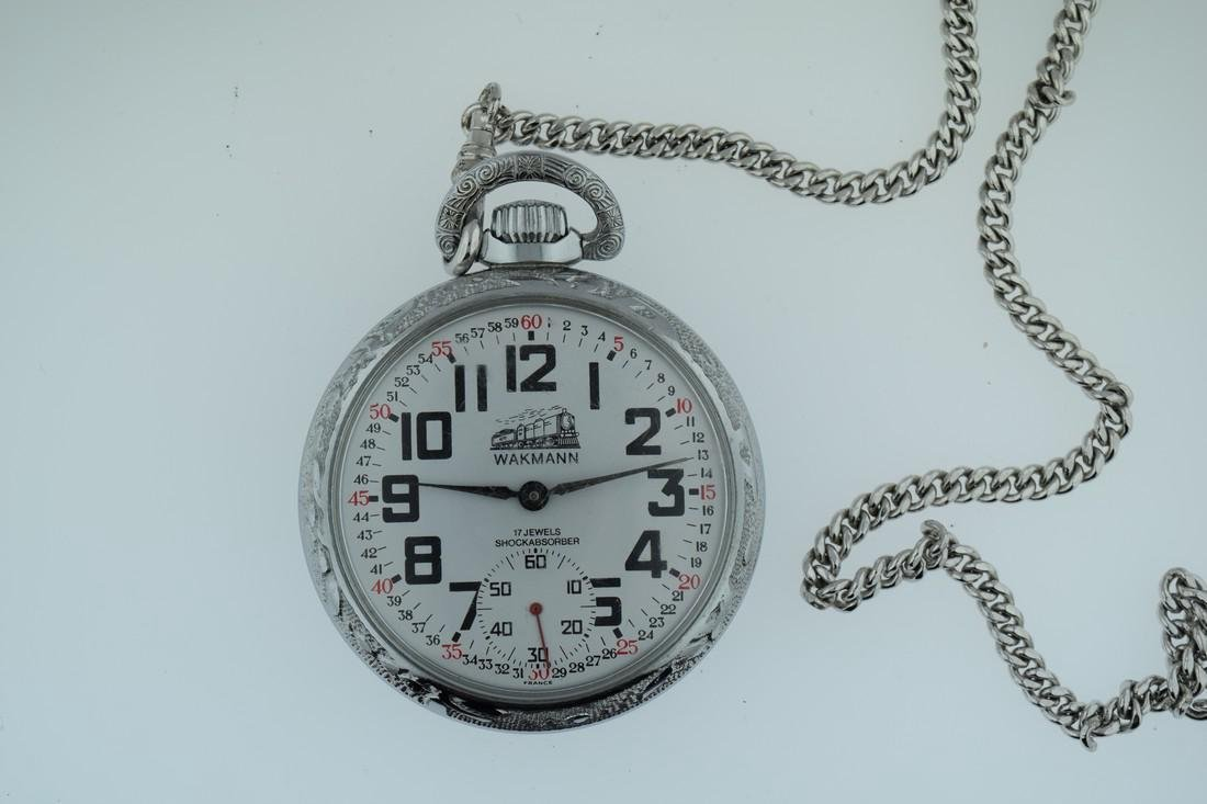 Wakmann Railroad Steel Pocketwatch with Chain, 1970s