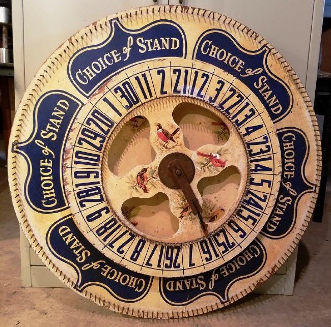 An Unusual Large Double Wheel Game. in Original Paint