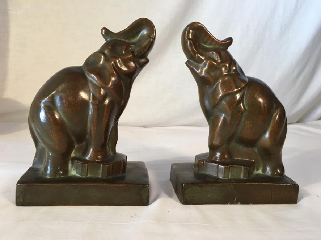 1920-30's Bronze Plated Elephant Bookends