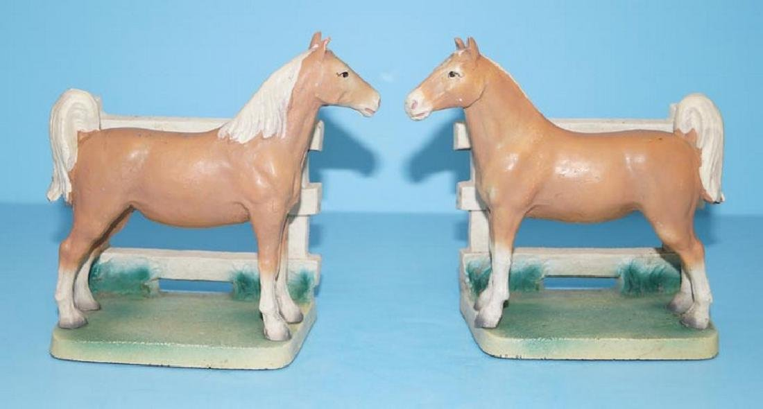 Palomino Horse by Fence Cast Iron Bookends