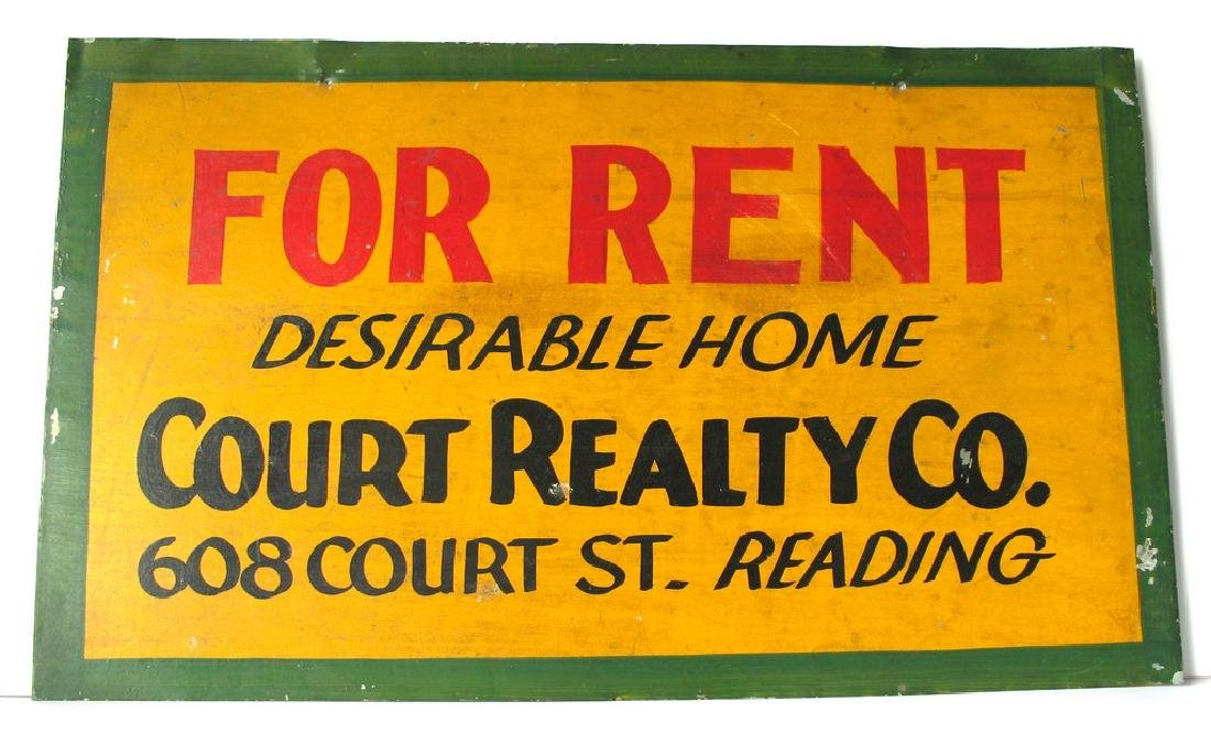 Colorful Tin For Rent Sign