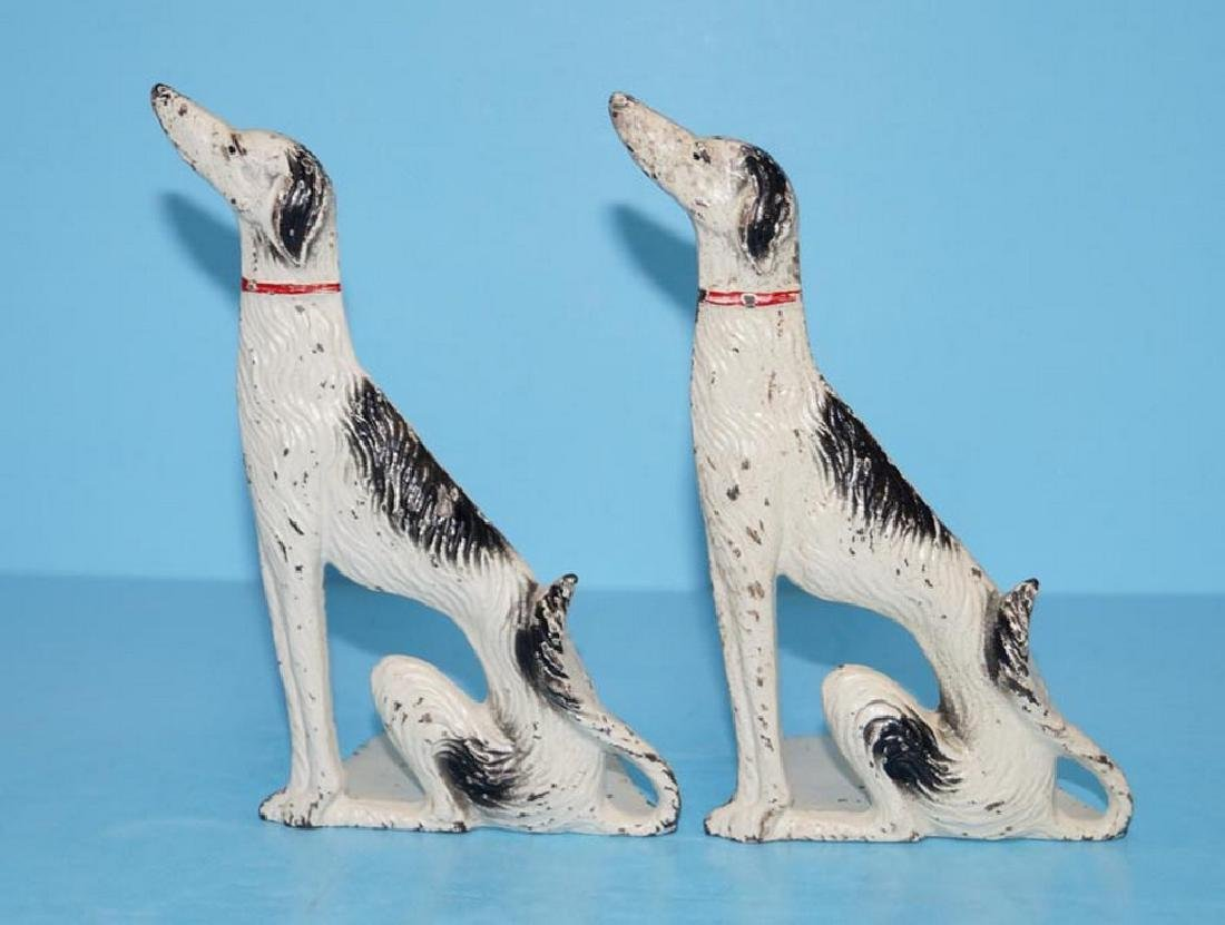Antique Wolfhound Borzoi Afghan Dog Cast Iron Bookends