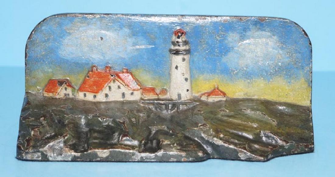 Lighthouse W/ Cottages Cast Iron Doorstop