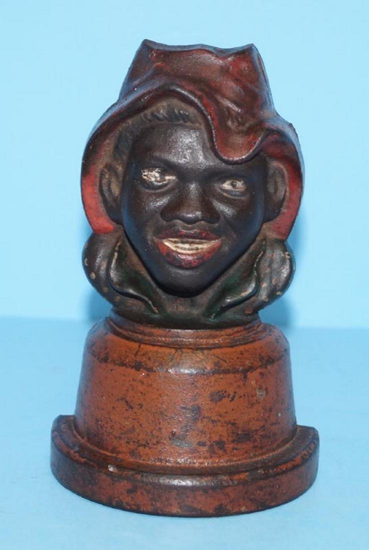 Antique Sharecropper Black Man Cast Iron Doorstop