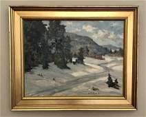 Winter Scene Oil Canvas by Charles E. Buckler 1869-1953