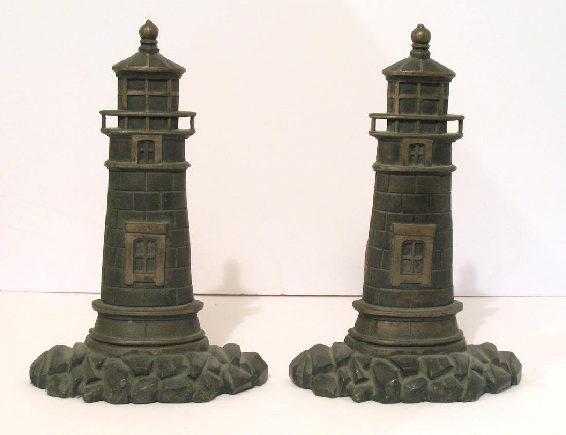 Pair of Vintage Cast Brass Lighthouse Andirons