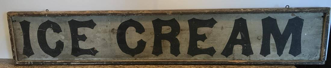 Early Framed Double Sided Wood Sign Ice Cream