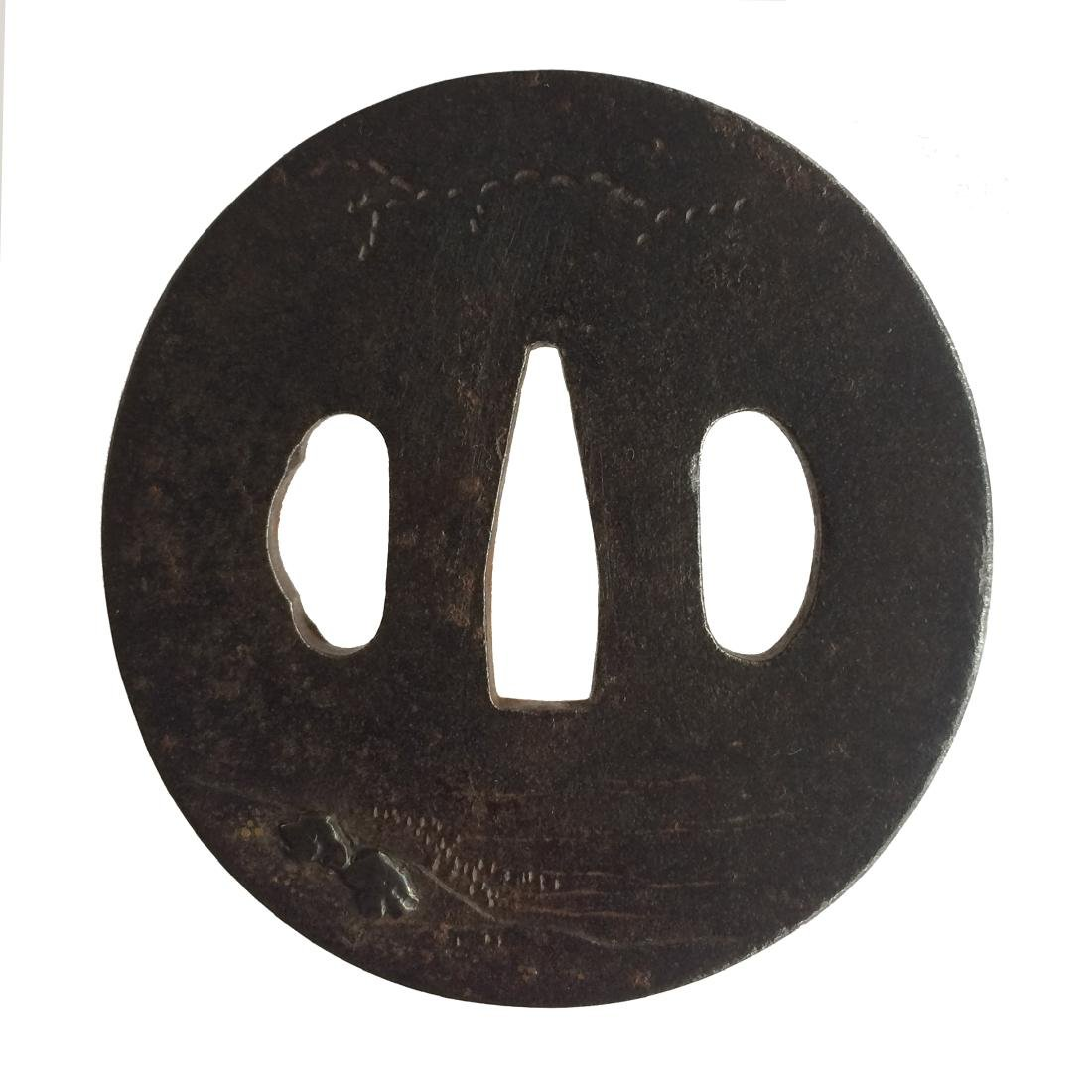 Iron tsuba with inlay and carving - 2