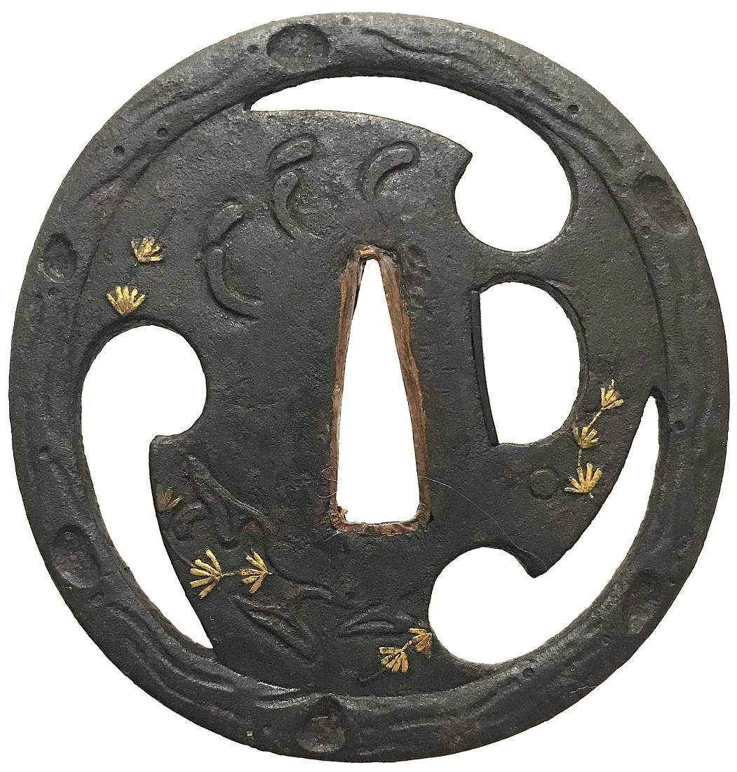 Sukashi tsuba with gold inlay and tomoe motif - 2