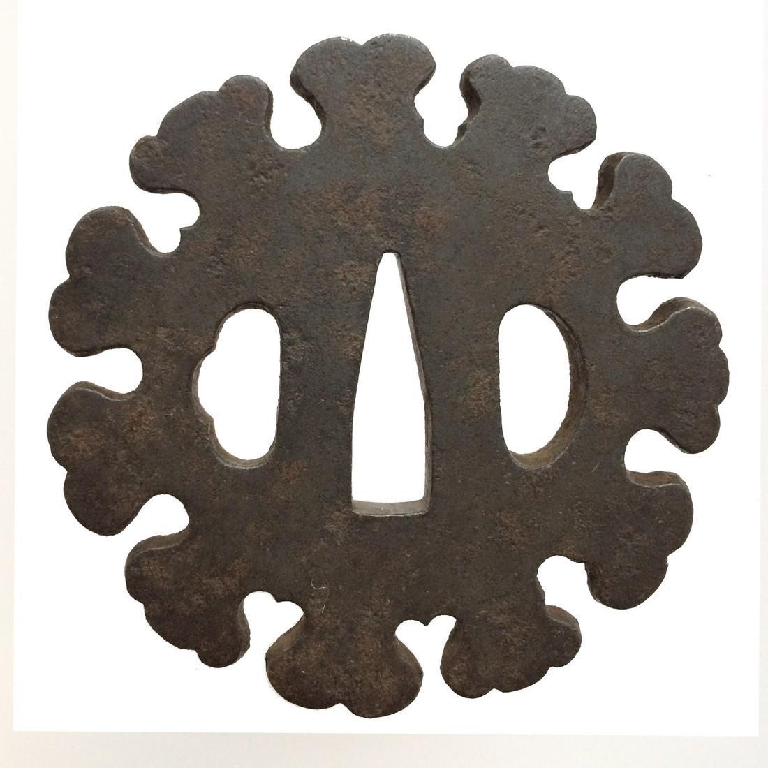 Iron tsuba with snow flake motif - 2