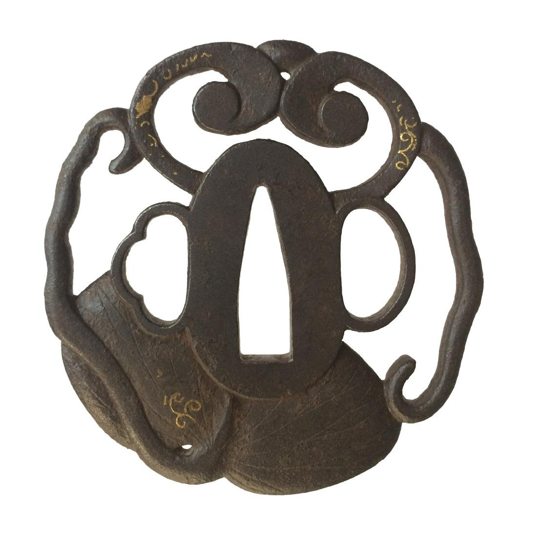 Iron tsuba with aoi leaves and tendrils motif, signed - 2