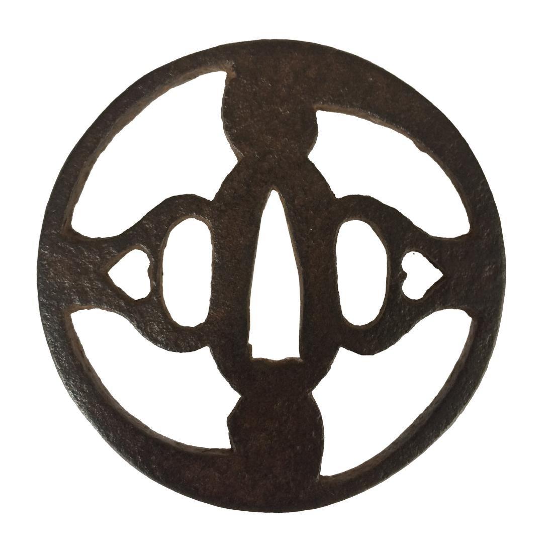 Iron sukashi tsuba with tomoe motif - 2