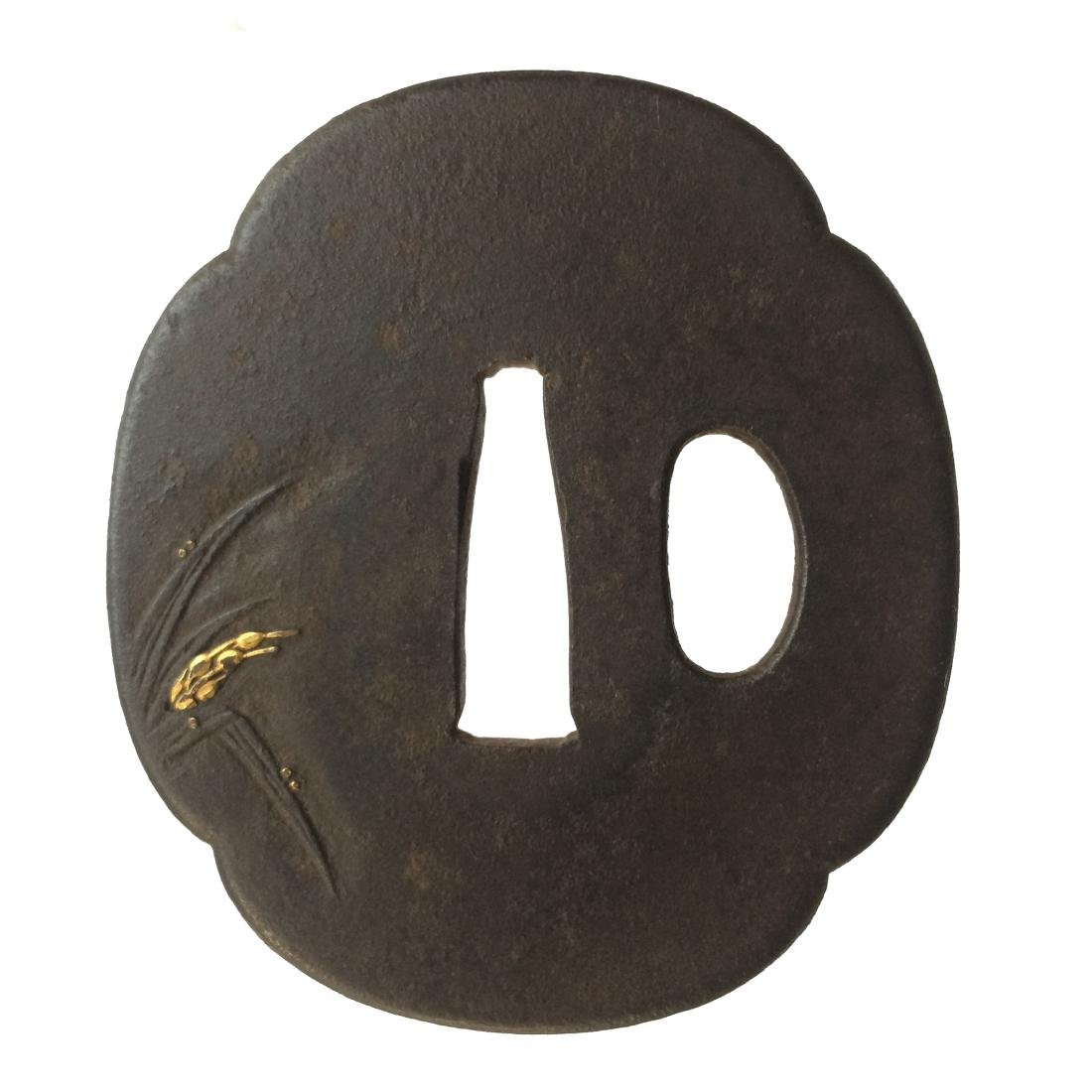 Iron tsuba inlaid with spikes and insects - 2