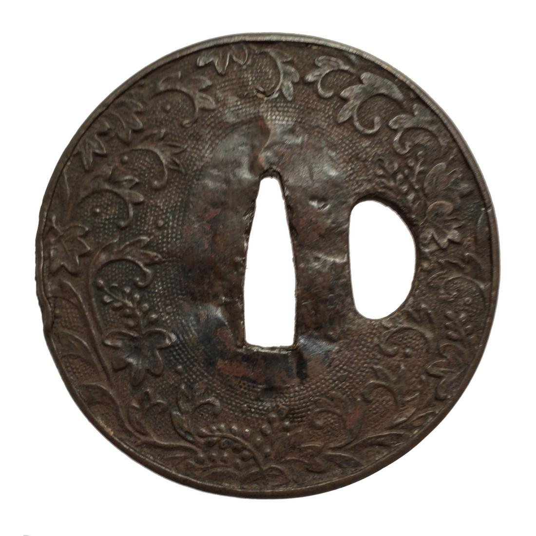 Repousse iron tsuba with floral design - 2