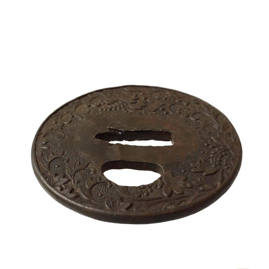 Repousse iron tsuba with floral design - 3