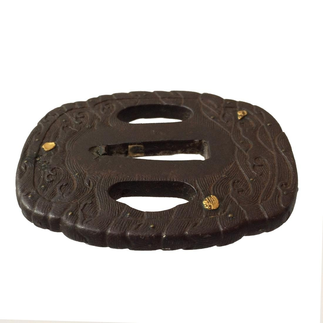 Iron tsuba with gold inlay - 3