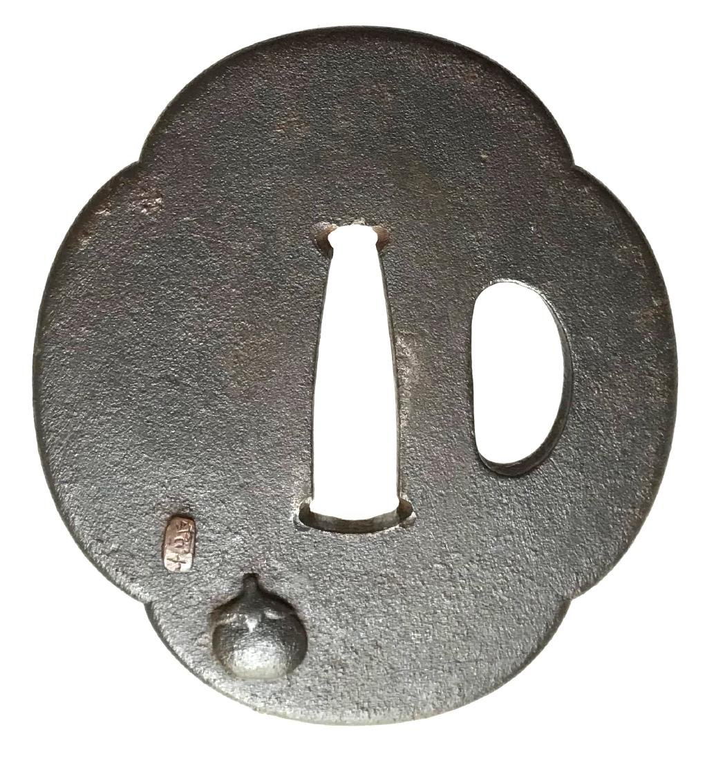 Iron tsuba with fan design carved and inlaid with gold. - 2
