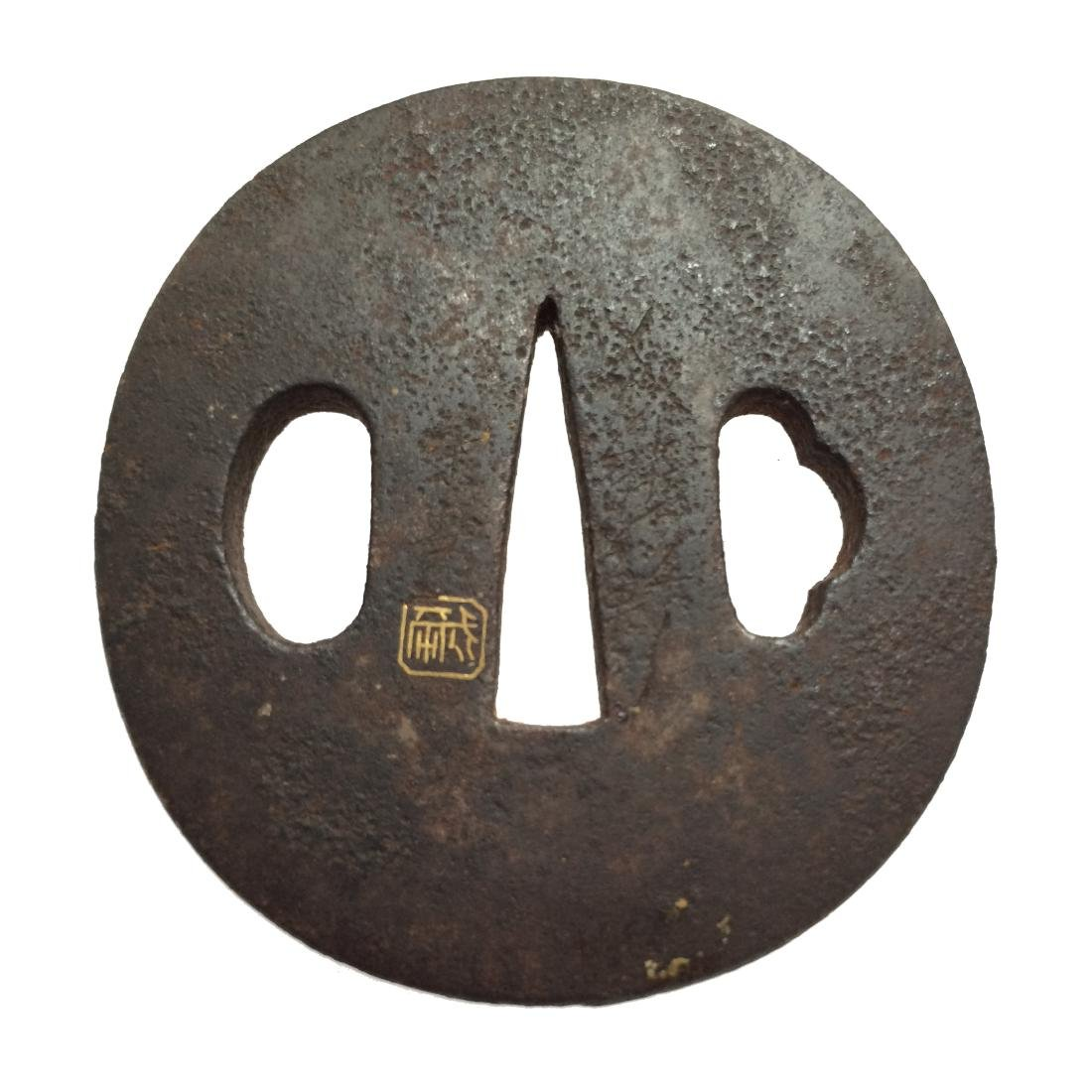 Iron tsuba with artists' Kao inlaid in gold