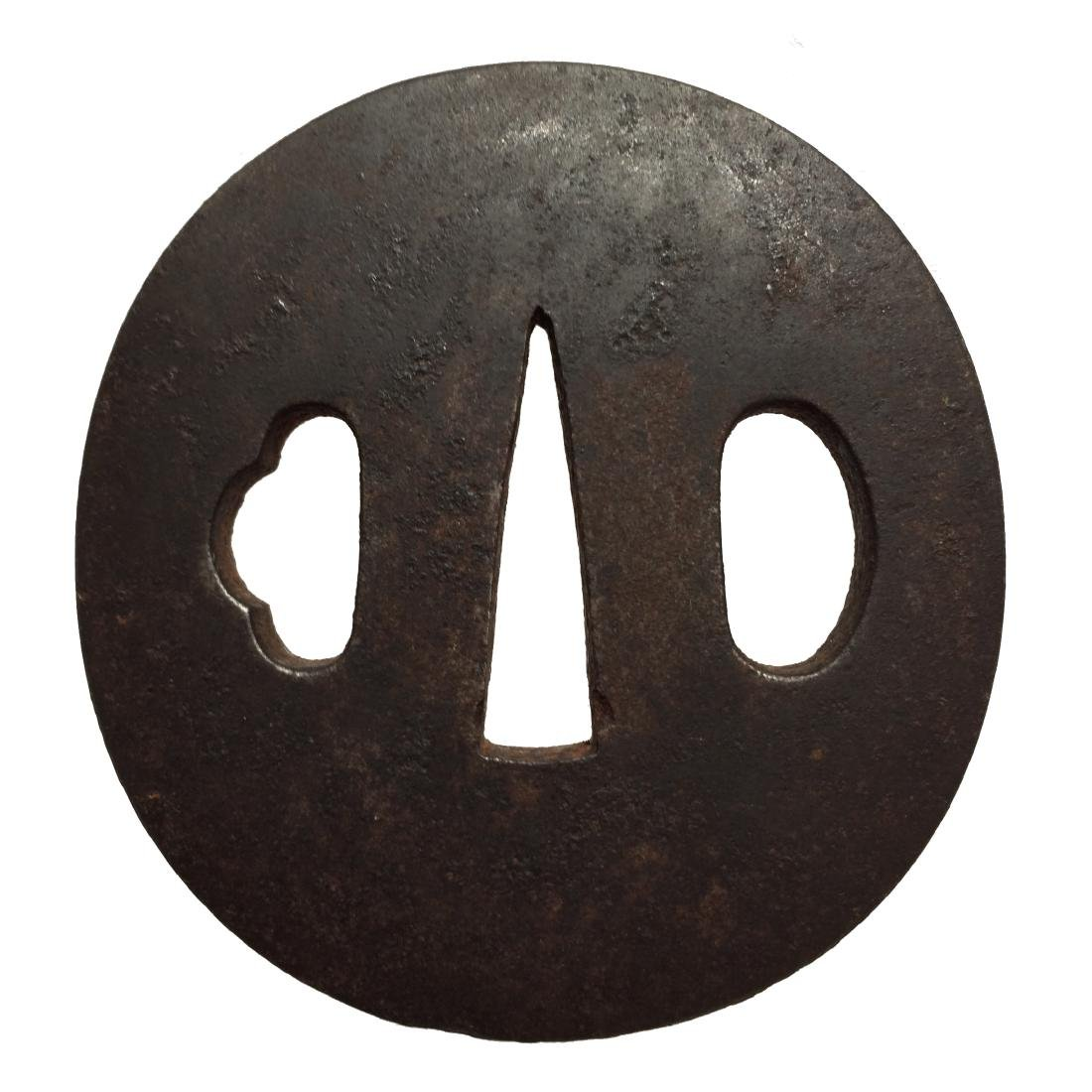 Iron tsuba with artists' Kao inlaid in gold - 2