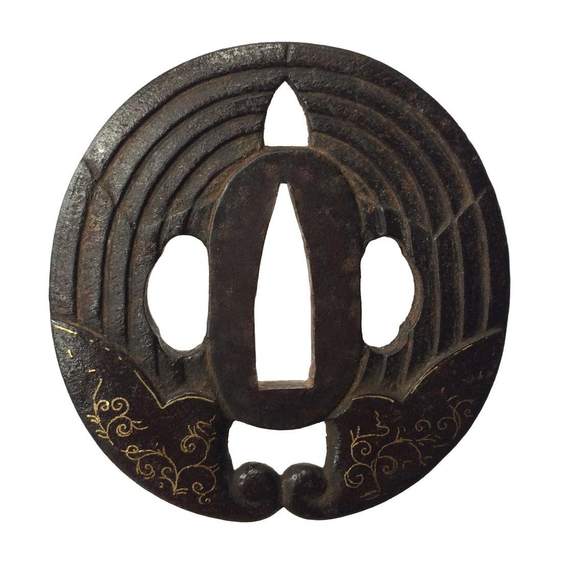 Tsuba with wild ginger family crest