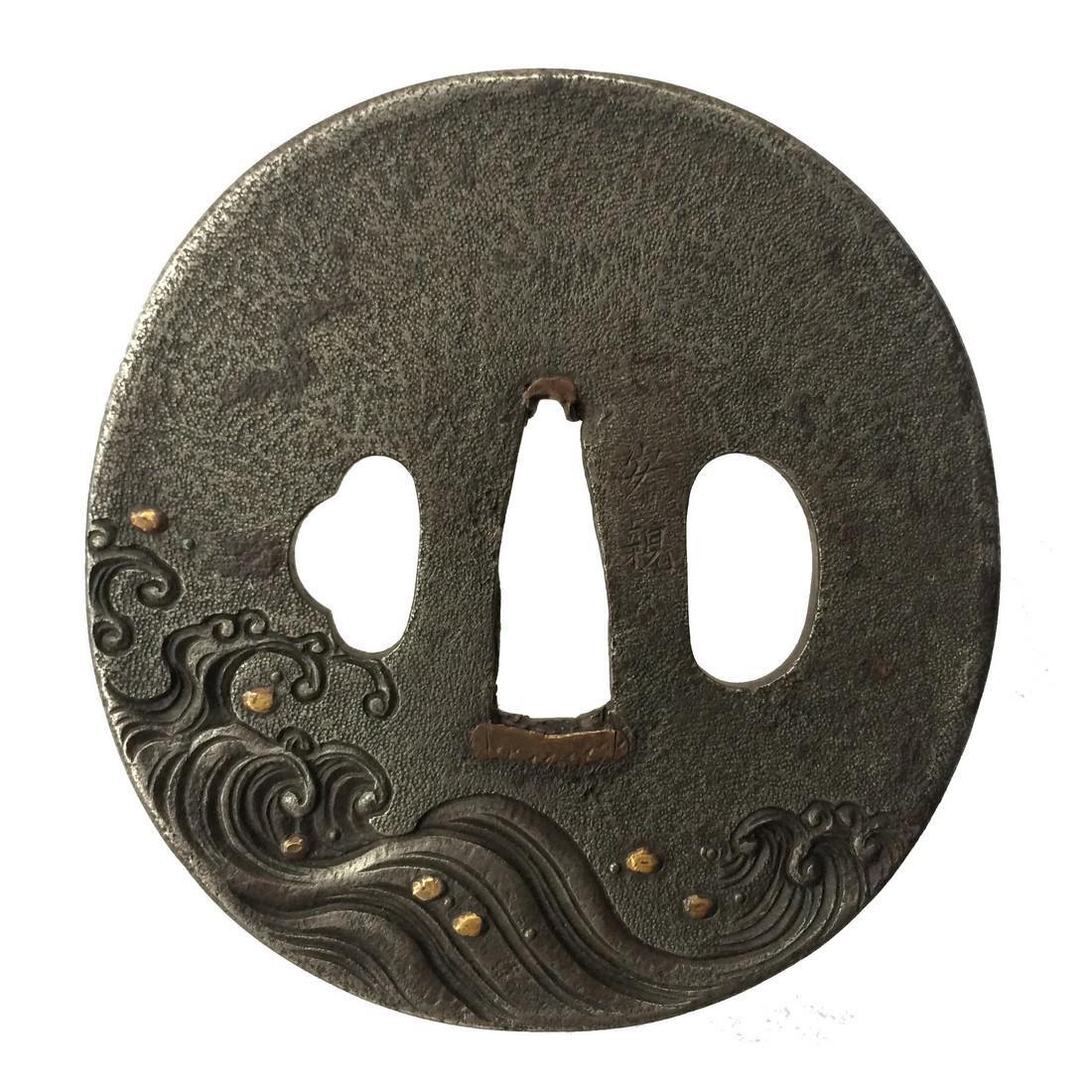 Iron tsuba with rough waves motif - 2