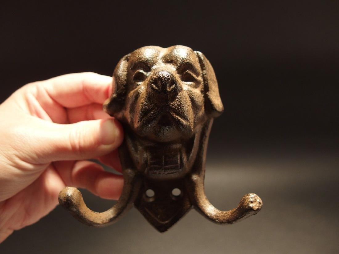 Cast Iron St Bernard Rescue Dog w Keg Leash Double Hook - 2