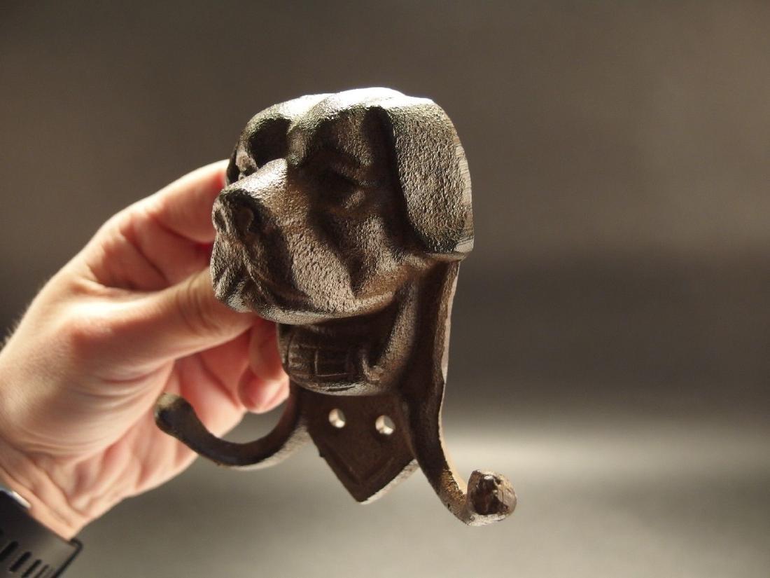 Cast Iron St Bernard Rescue Dog w Keg Leash Double Hook - 3