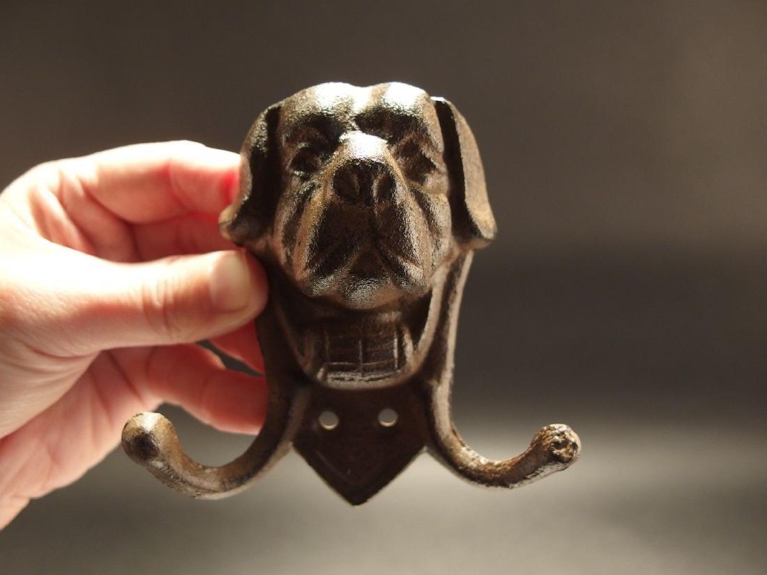 Cast Iron St Bernard Rescue Dog w Keg Leash Double Hook - 7