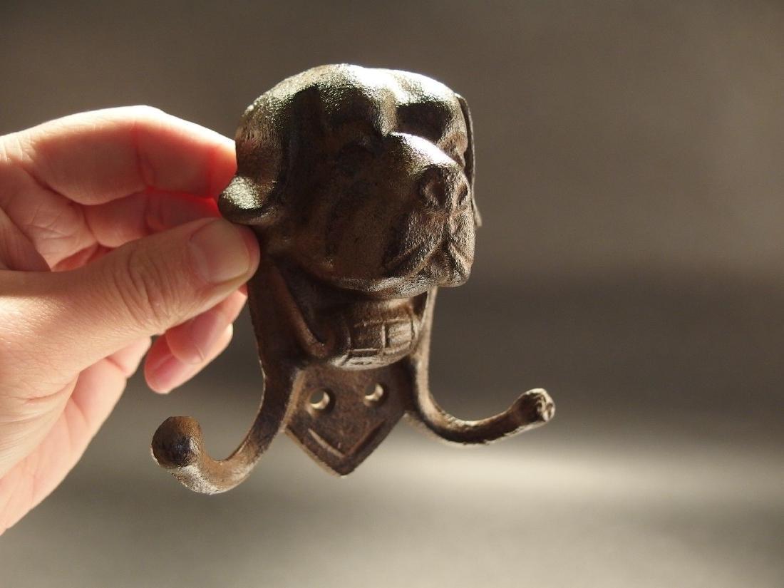Cast Iron St Bernard Rescue Dog w Keg Leash Double Hook - 8