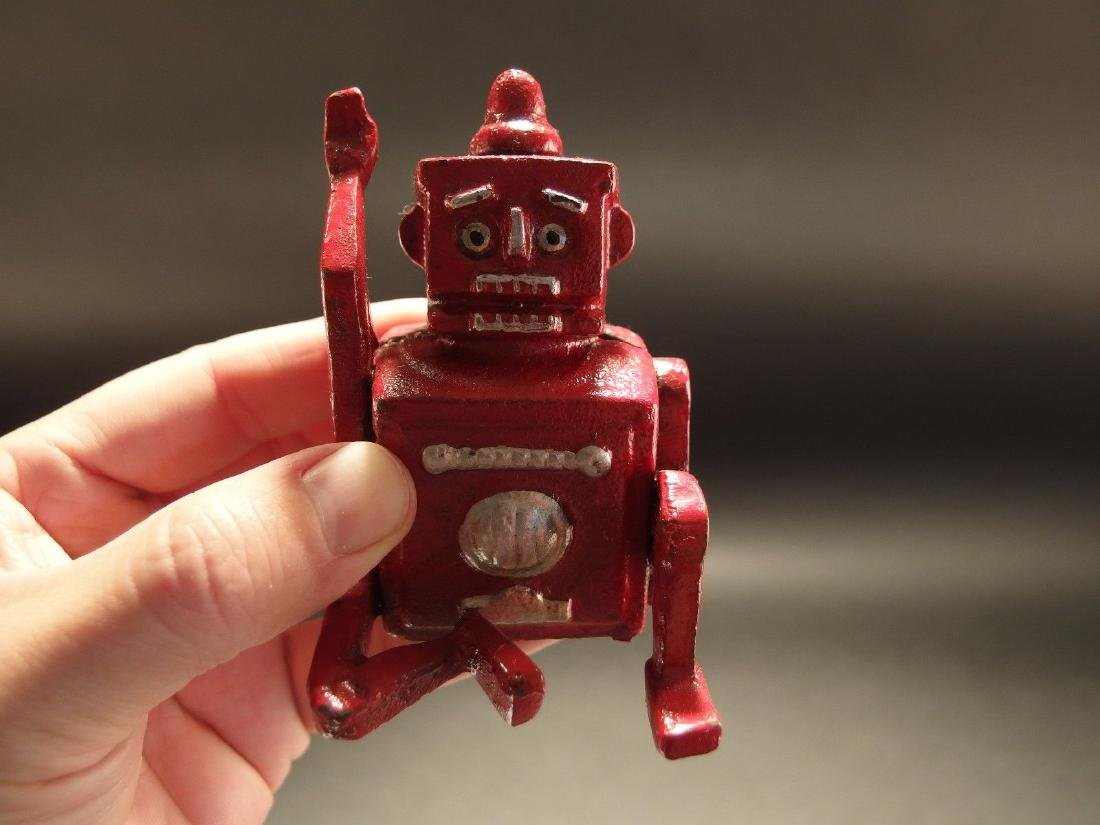 Mini Cast Iron Red Robert the Robot Toy Paperweight - 10