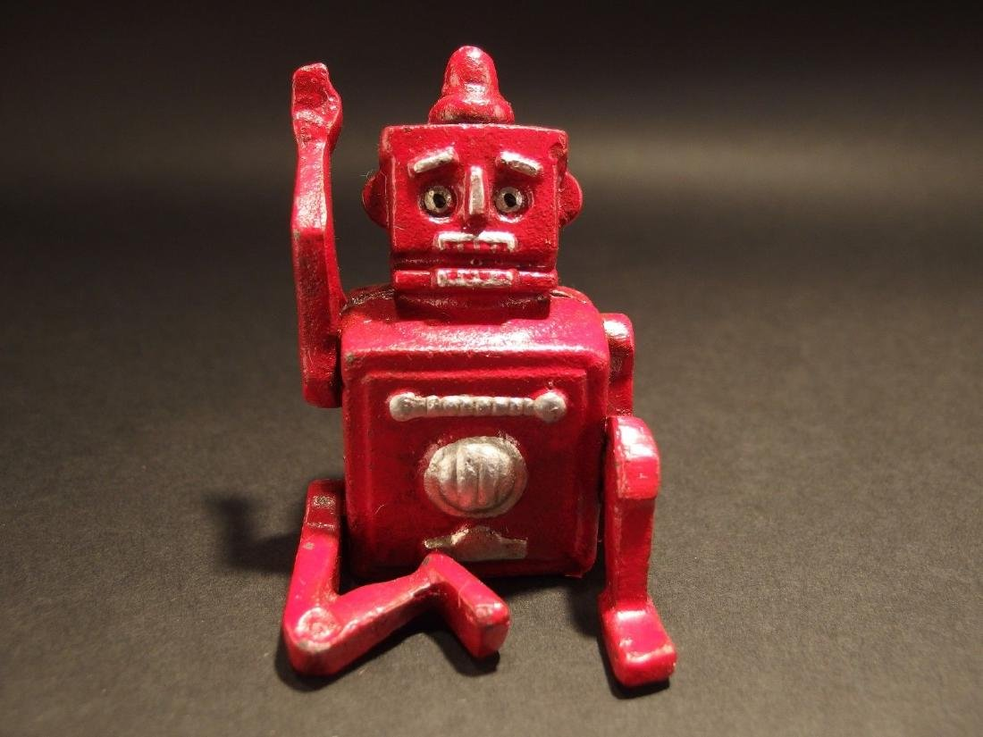Mini Cast Iron Red Robert the Robot Toy Paperweight - 2