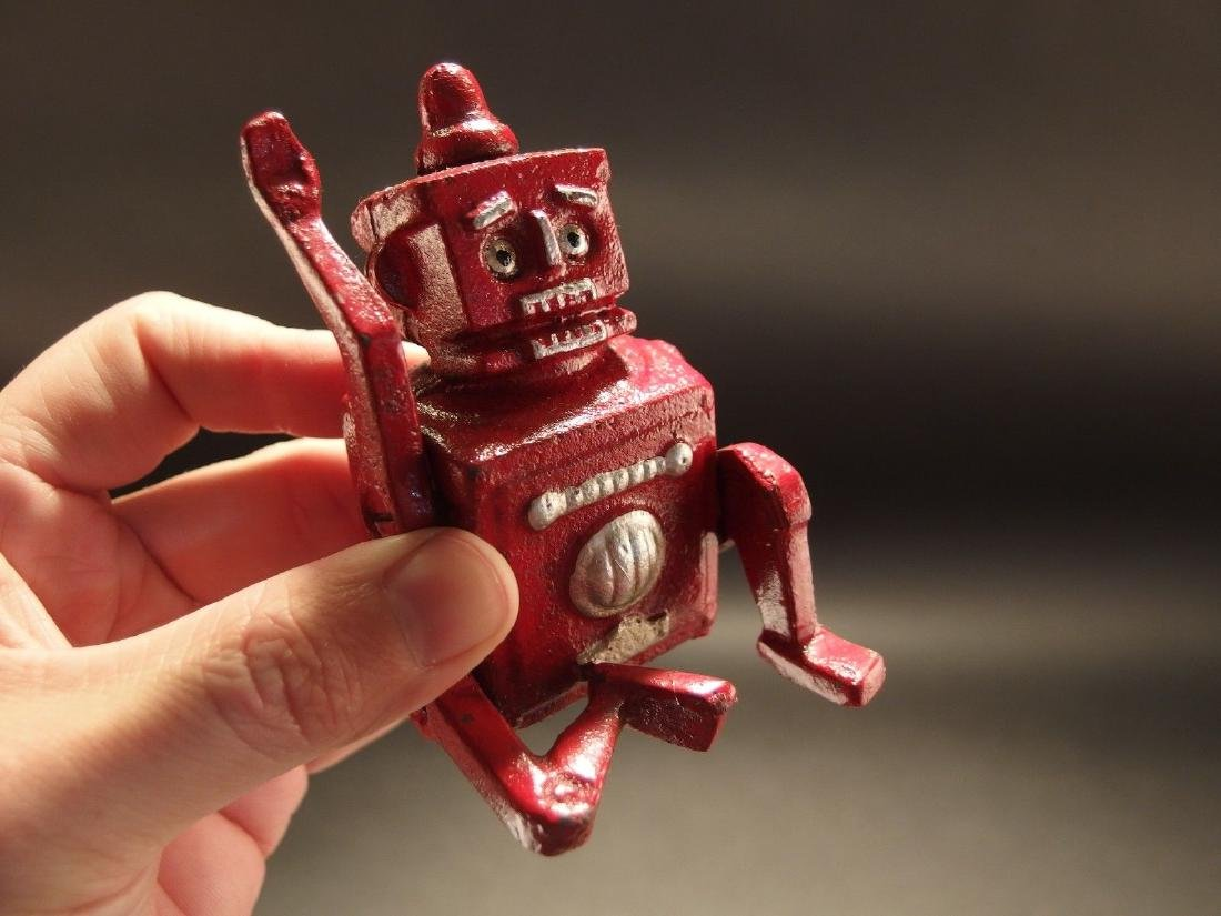 Mini Cast Iron Red Robert the Robot Toy Paperweight - 3