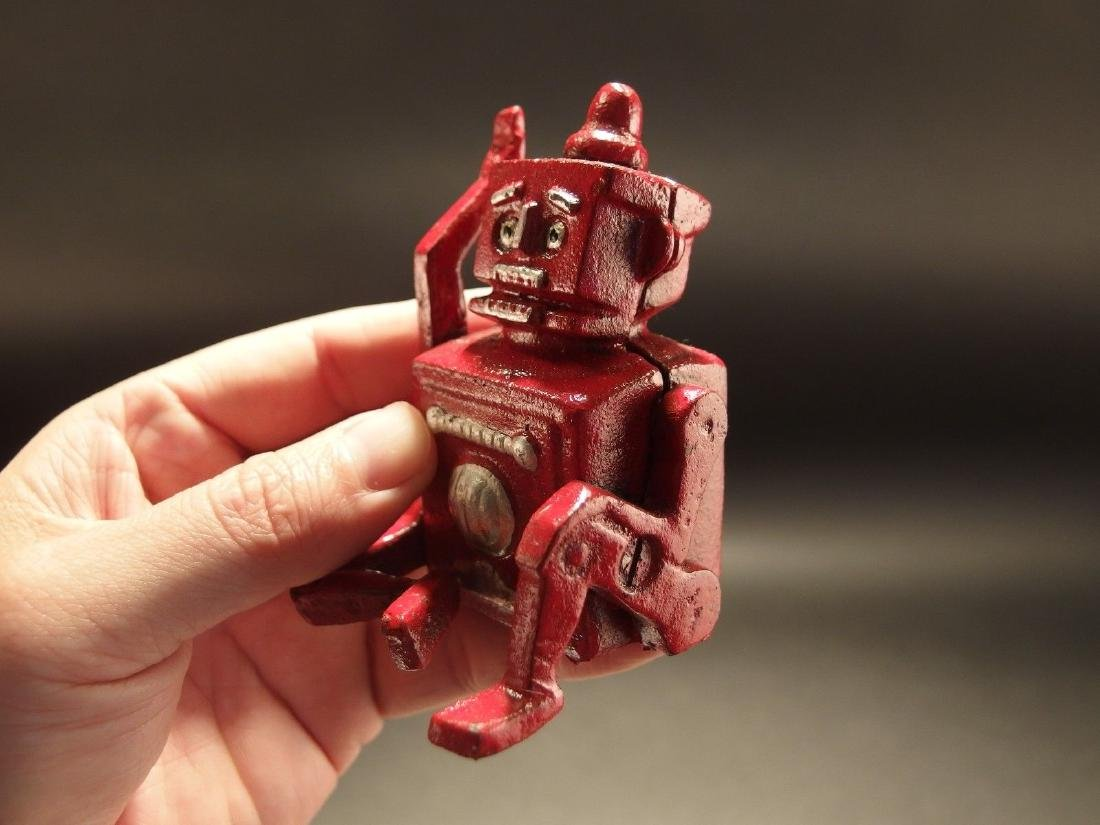 Mini Cast Iron Red Robert the Robot Toy Paperweight - 4