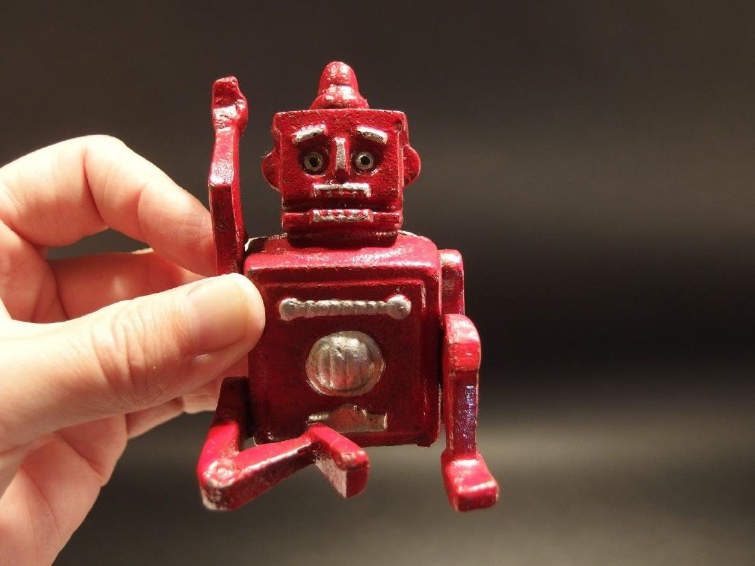 Mini Cast Iron Red Robert the Robot Toy Paperweight - 5