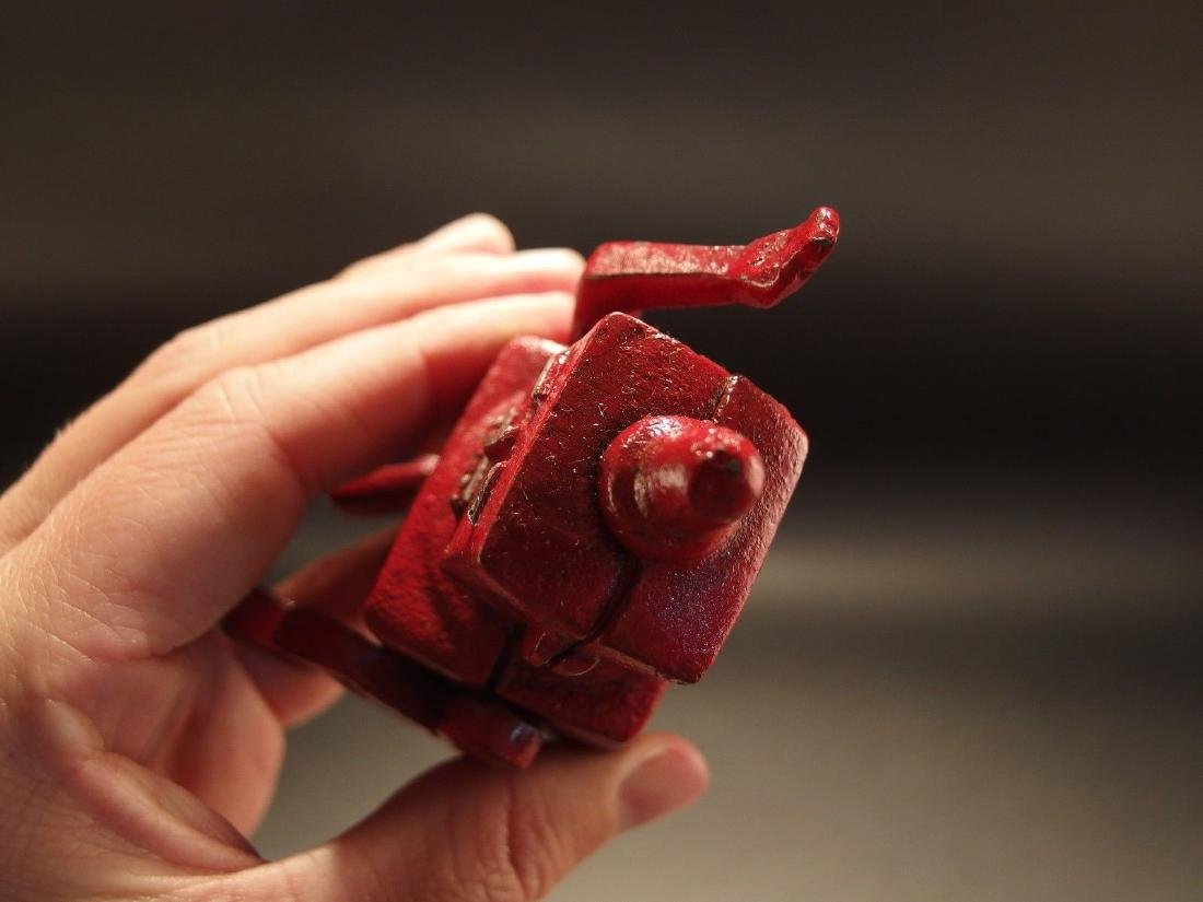Mini Cast Iron Red Robert the Robot Toy Paperweight - 9