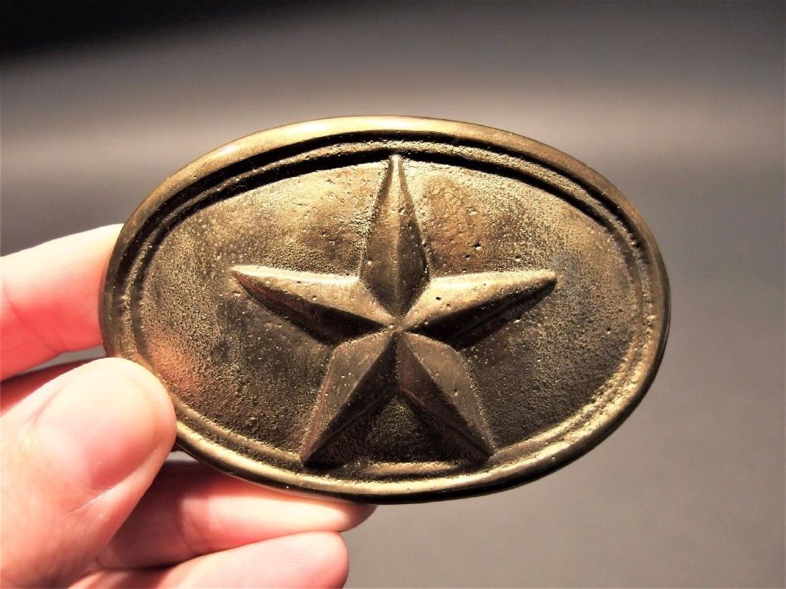 Civil War Belt Buckle Plate Texas Star SOLID Brass
