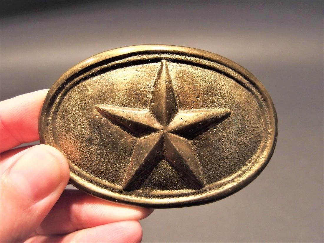 Civil War Belt Buckle Plate Texas Star SOLID Brass - 5