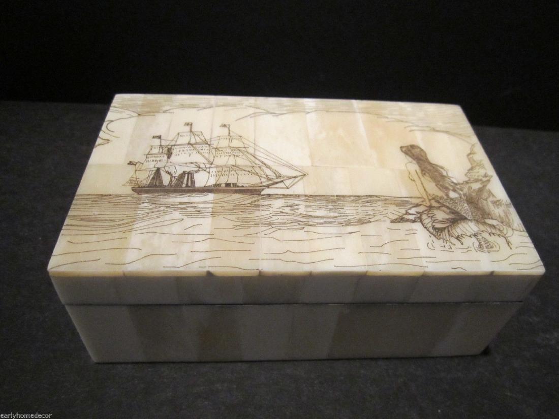 Folk Art Mermaid Scrimshaw Etched Bone & Wood Trinket - 2