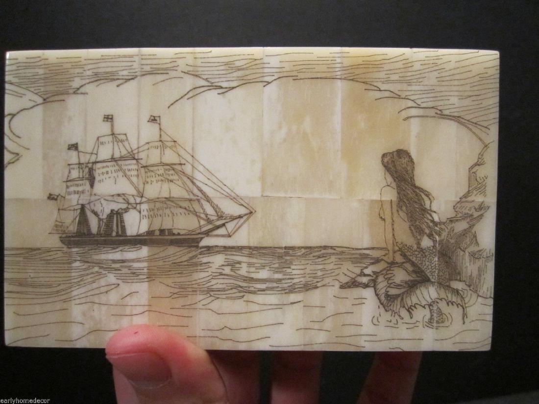 Folk Art Mermaid Scrimshaw Etched Bone & Wood Trinket - 3