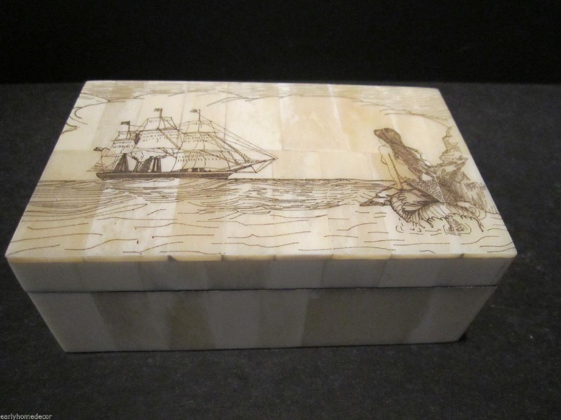 Folk Art Mermaid Scrimshaw Etched Bone & Wood Trinket - 7